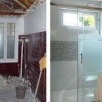 La salle de bain d'Allysone pendant et après les travaux.