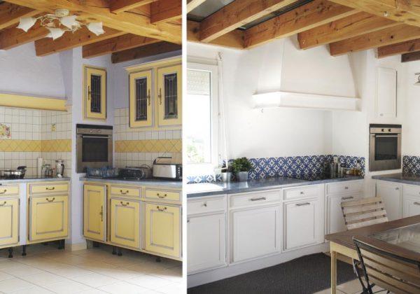 avant apres une cuisine provencale relookee en blanc et bleu