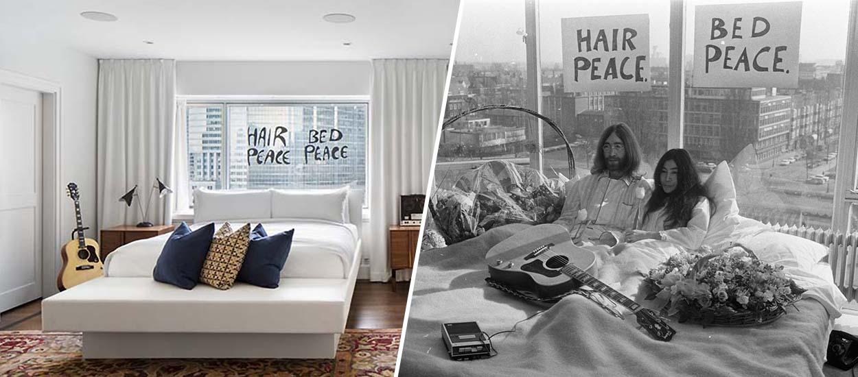 Bed in for peace de John Lennon et Yoko Ono  lhtel Reine Elizabeth redcore la suite 1742