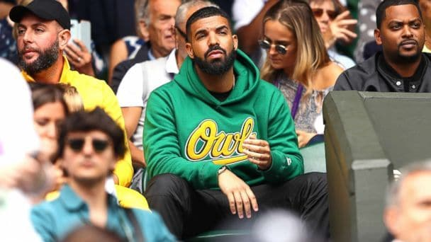 Drake watching Serena at Wimbledon