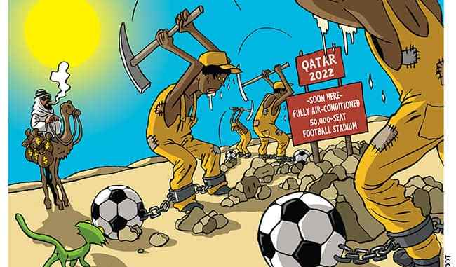 Qatar workers build FIFA stadium in extreme conditions (Vadot, Nicolas)