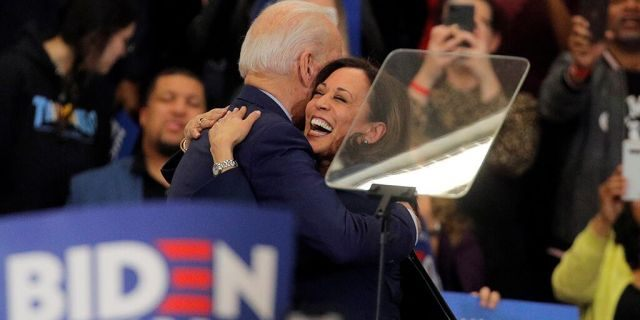 Joe Biden hugging Kamala Harris