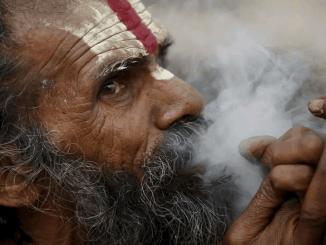 Indian man smoking weed