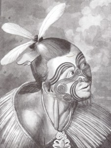 """Figure 2: """"Moko"""" Maori facial tatoo.  Sidney Parkinson, from Hawkesworth's Account of Some Voyages (1773)."""