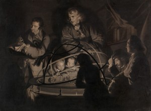 Joseph Wright of Derby, Philosopher Giving a Lecture on the Orrery.  ca. 1768. Oil on canvas. 17 5/8 x 23 1/2 inches (44.8 x 59.7 cm).  Yale Center for British Art, Paul Mellon Collection.