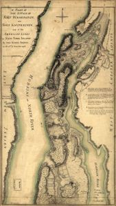 "Claude Joseph Sauthier, ""A plan of the attack of Fort Washington, now Fort Knyphausen, and of the American lines on New-York Island by the King's troops, on the 16th of November 1776.""  col. map, 48 x 27 cm.  Library of Congress Geography and Map Division Washington, D.C."