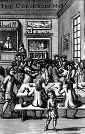 The Coffeehous Mob, frontispiece to Ned Ward's Vulgus Britannicus (1710).