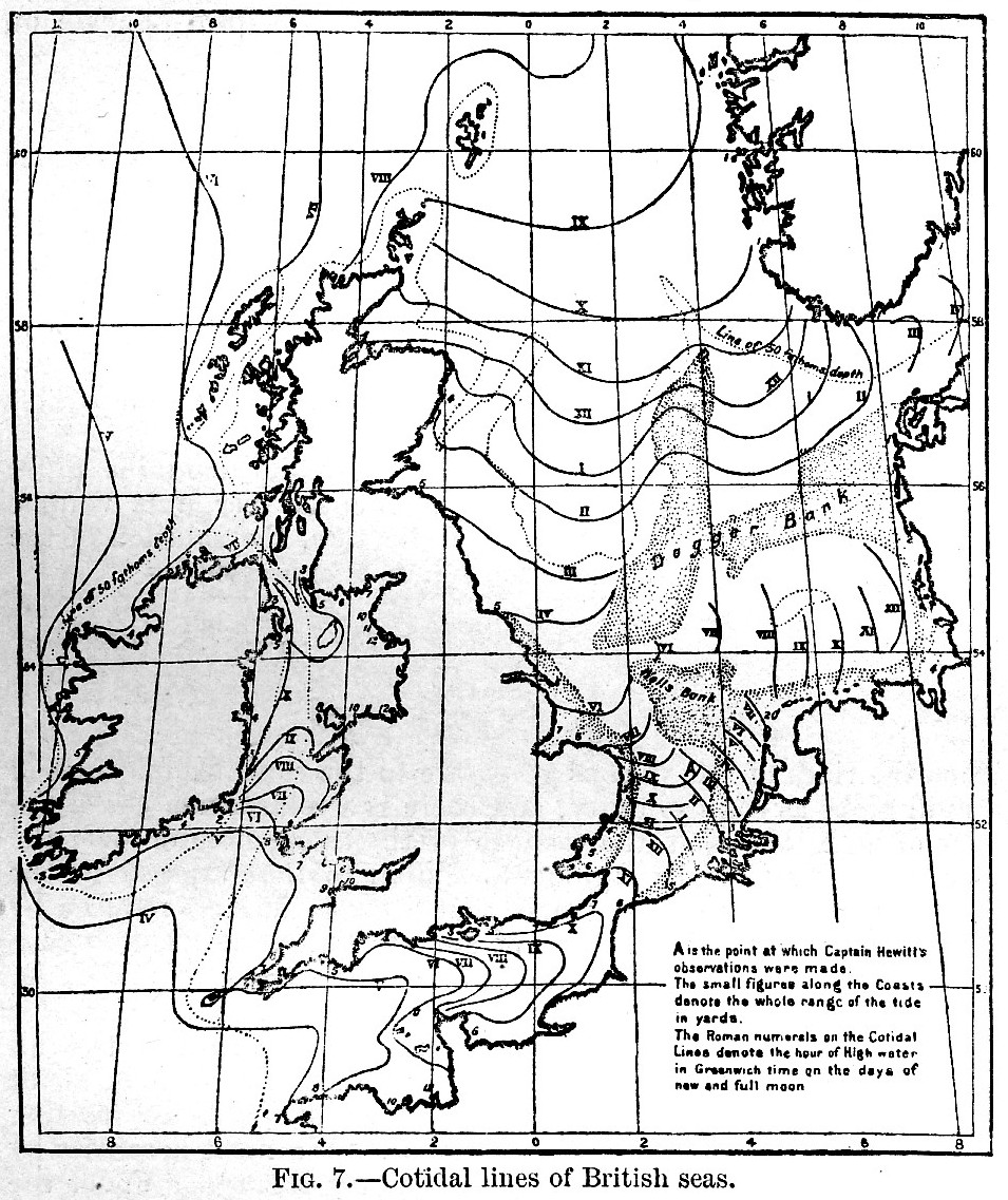 Cotidal Lines of the British Isles. Fig. 7 (Large Version