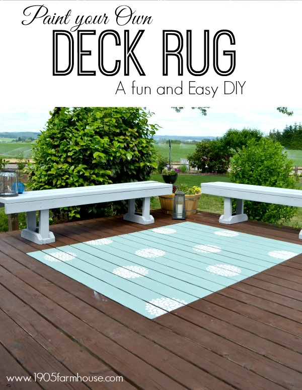 Aqua rug painted on stained deck with benches and bushes in background