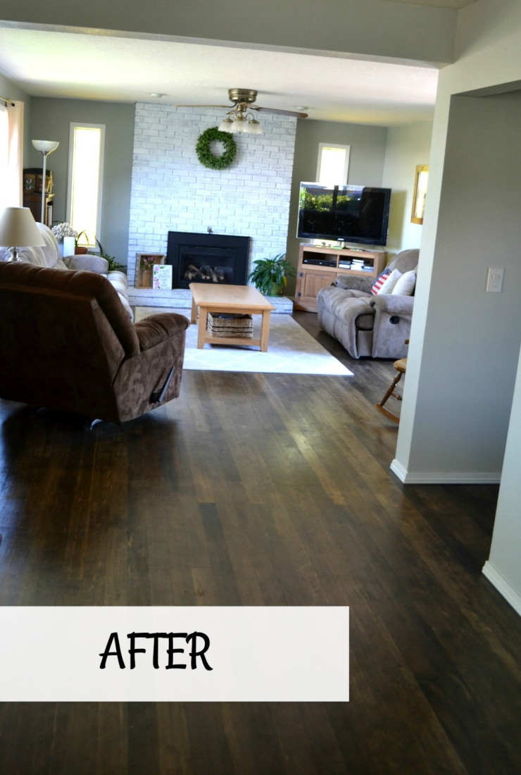 After we removed laminate tiles and revealed original hardwood