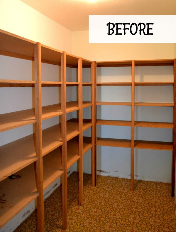 Walk-in pantry update including new shelving and flooring