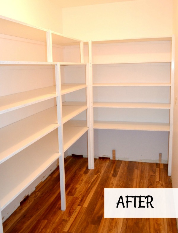 Pantry refreshed with new paint, flooring and new melamine shelving