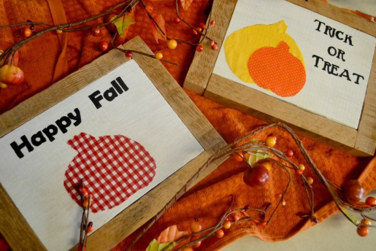 Fall signs made from scraps of wood with a little paint and fabric