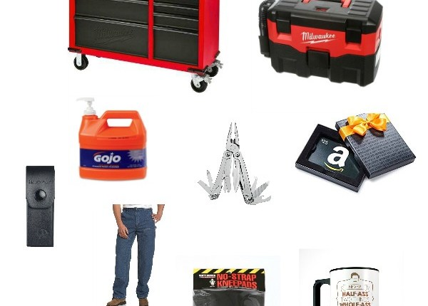 The ultimate gift guide for your hard to shop for blue collar guy who loves to DIY, beer drinking and working with power tools #giftguide #giftsforhim #dadgiftideas #ultimategiftguideformen