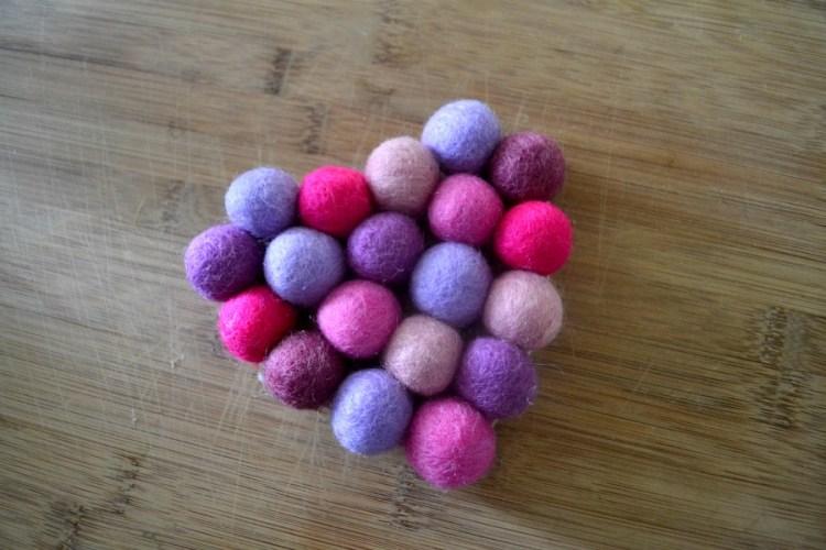 Felt ball heart coaster for Valentine's Day