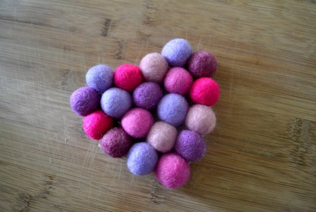 Felt ball heart coaster for Valentine's Day