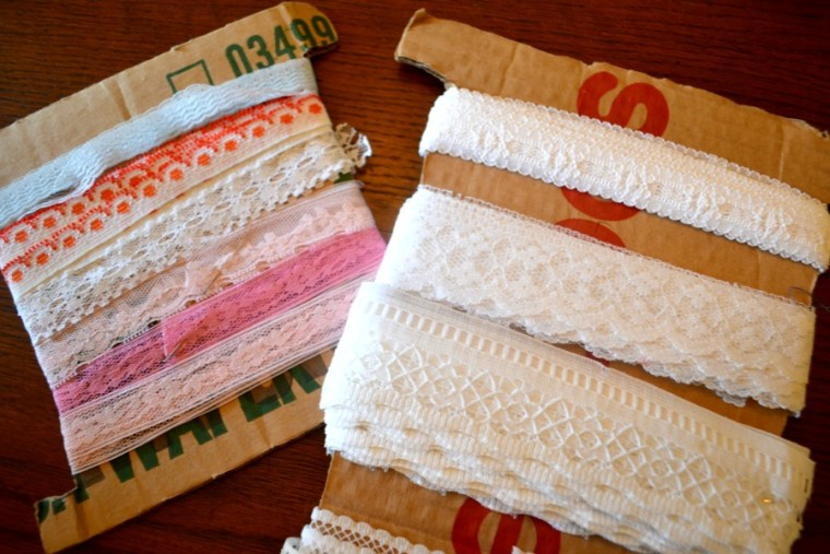 Lace from Grandma to be used to create shabby chic horseshoe hanging decor