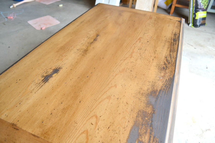 Coffee table after applying a coat of wood stain