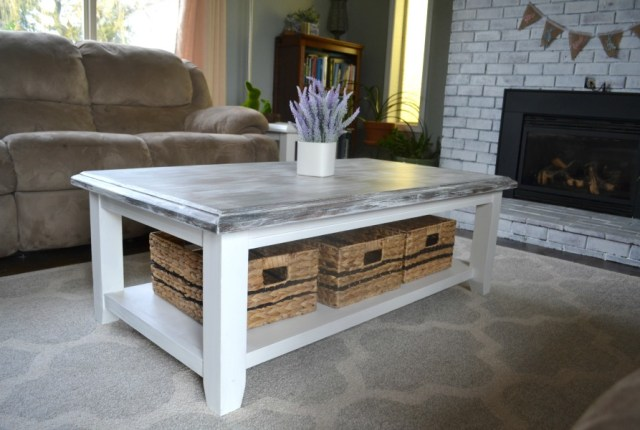 An updated coffee table painted with milk paint to match the farmhouse decor