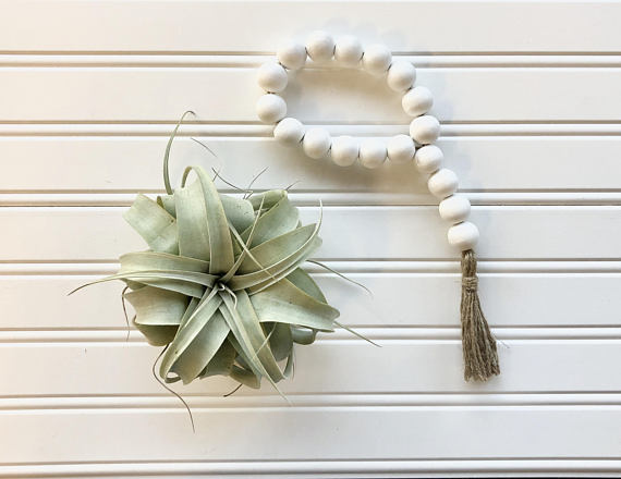 A flatlay photo of a succulent and white beads with a tassel on a beadboard background
