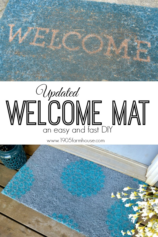 Before picture of dirty and worn blue welcome mat and an after photo of a gray welcome mat with aqua blue mum flower stencils