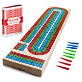 A cribbage board, deck of cards and cribbage pegs on a white background