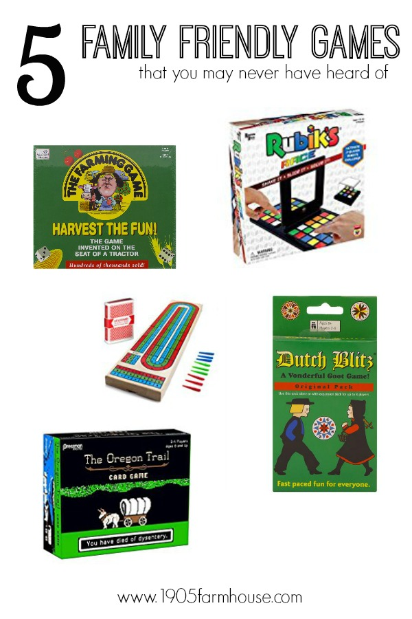 A collage picture of five different game boxes with the title 5 family friendly games you may have never heard of