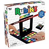 An angled view of a game box entitled Rubik's Race with the game board pictures on front