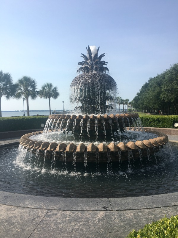 Pineapple shaped fountain in historic downtown Charleston, SC