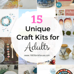 A collage of craft kits with a text overlay