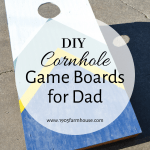 A cornhole game board with text overlay