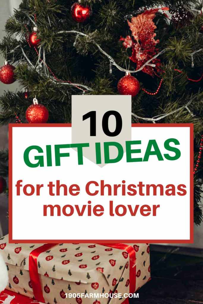 A Christmas tree decorated in red with a white text overlay box that says 10 Gift ideas for the Christmas Movie Lover