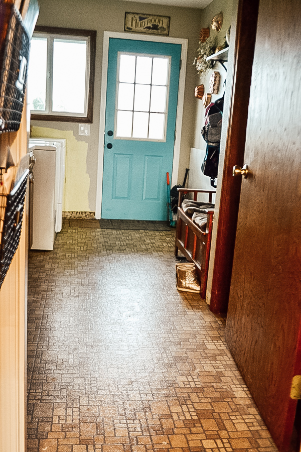 A laundry room as pictured from the door towards a blue exterior door and a brown floor with a brown door on the right