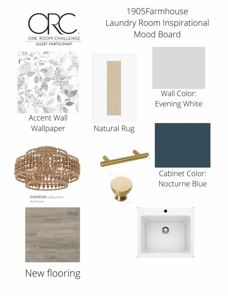 A mood board with gray and blue paint picks, wallpaper, and hardware choices