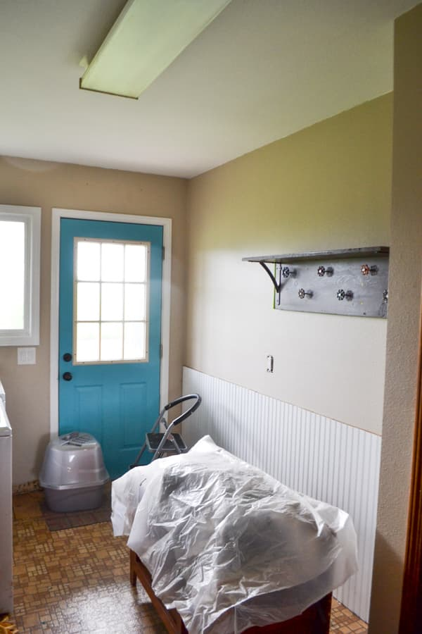 A view from a doorway of a laundry room wall painted brown with a flourescent light above and a teal door leading outside
