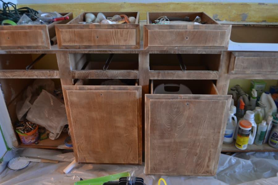 Sanded cabinet fronts