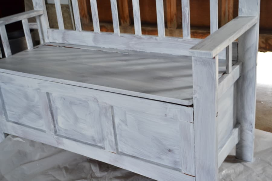 A close up of a bench with white primer