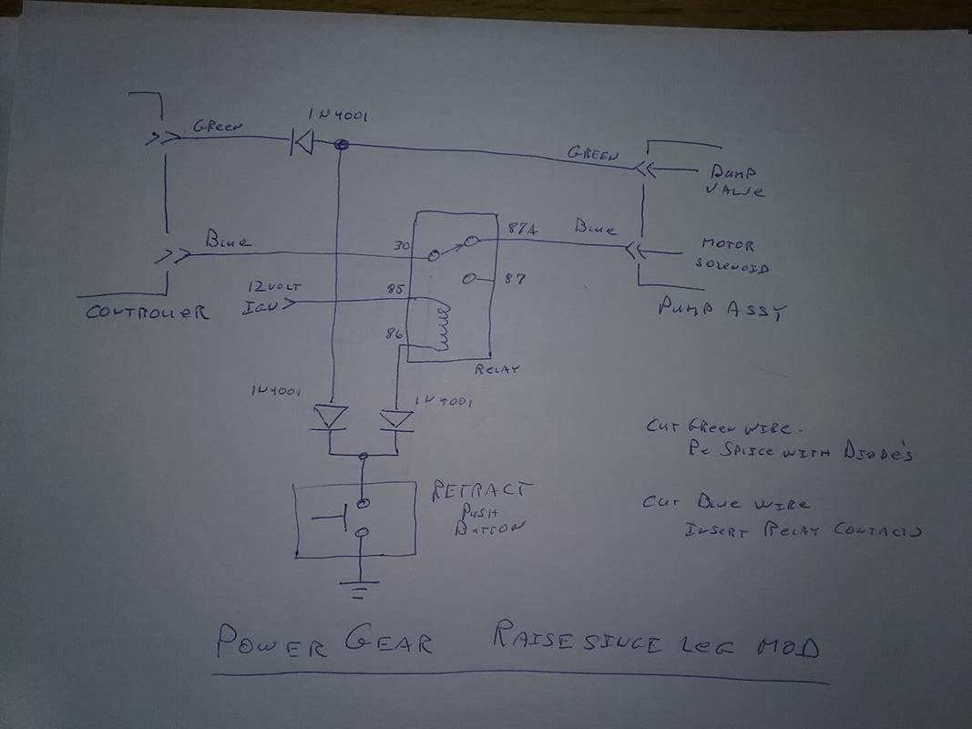 hight resolution of this modification took about 2 hours to do wire the relay push button and diodes as shown on the diagram