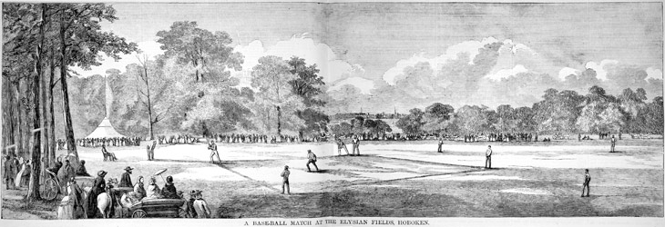 """A Baseball Match at the Elysian Fields, Hoboken"" fr. 19th Century baseball (click image for link)"