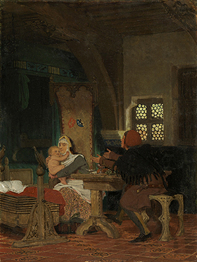 baby throne chair hitchcock table and chairs value new discoveries flemish interior in the fourteenth century by lawrence alma-tadema