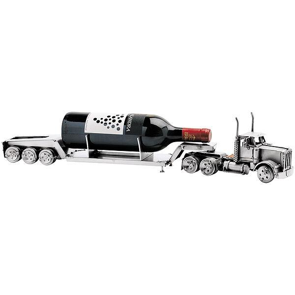 Metallfahrzeug LKW Tieflader als Weinflaschenhalter