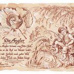Zu Weihnachten: Sportbild Angler auf Antikpapier im A4-Format ein prima Geschenk