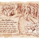 Zu Weihnachten: Sportbild Kegler auf Antikpapier im A4-Format ein prima Geschenk