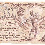 Zu Weihnachten: Sportbild Golfer auf Antikpapier im A4-Format ein prima Geschenk