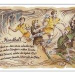 Zu Weihnachten: Sportbild Handball auf Antikpapier im A4-Format ein prima Geschenk