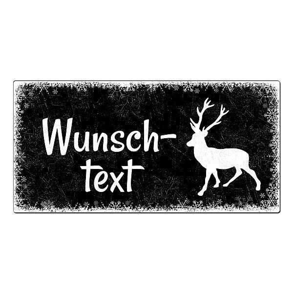 Schild mit Hirsch - viele weitere Symbole zur Auswahl 200 x 100 mm schwarz