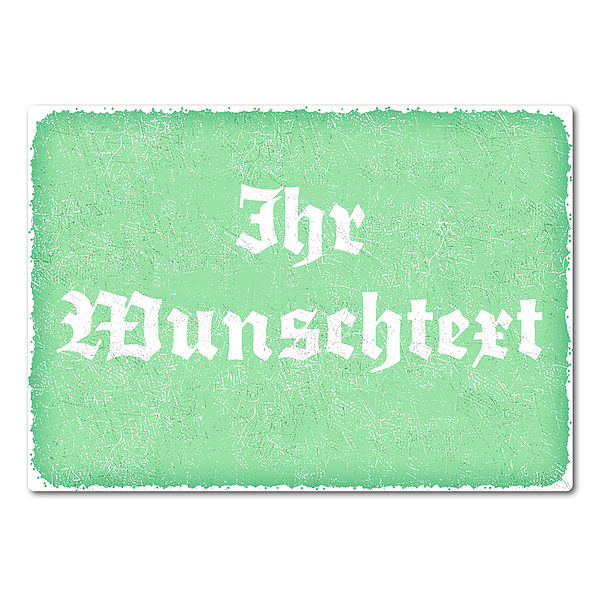 bedrucktes Retroschild mit Wunschtext A4 mint