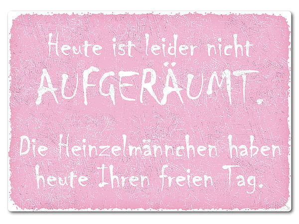 bedrucktes Retroschild mit Wunschtext A4 rosa