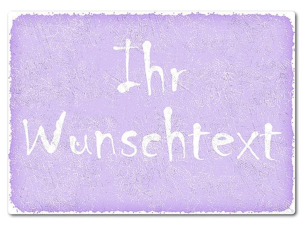 bedrucktes Retroschild mit Wunschtext A4 violett