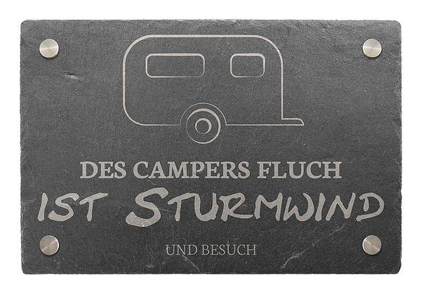 Dekoschild aus Schiefer 300 x 200 mm - Motiv Wohnwagen